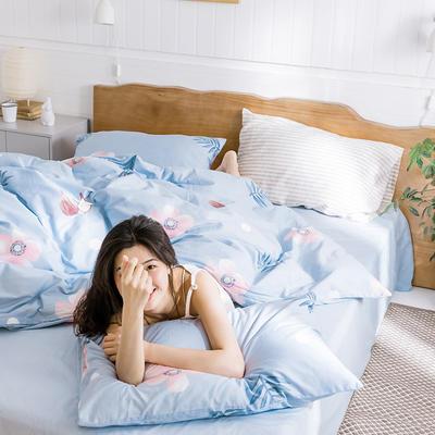 【总】oneday 纯棉四件套全棉床上用品 1.2m(4英尺)床 一朵蓝色