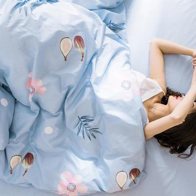 oneday 纯棉四件套全棉床上用品【一朵蓝色】 1.8m(6英尺)床 一朵蓝色
