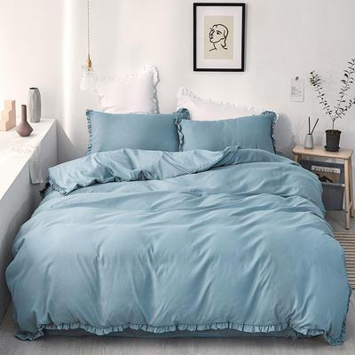 【总】oneday荷叶边磨毛活性四件套床上用品 1.2m(4英尺)床 巴黎蓝