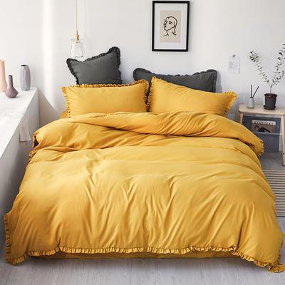 【总】oneday荷叶边磨毛活性四件套床上用品 1.2m(4英尺)床 秋香黄