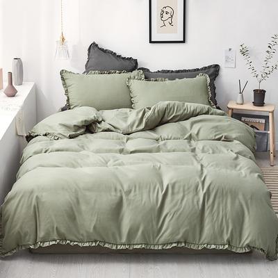【总】oneday荷叶边磨毛活性四件套床上用品 1.2m(4英尺)床 仙踪绿