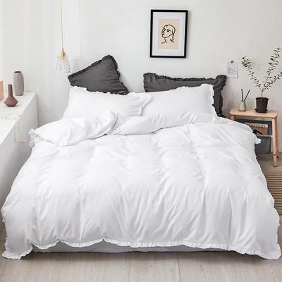 【总】oneday荷叶边磨毛活性四件套床上用品 1.2m(4英尺)床 月光白