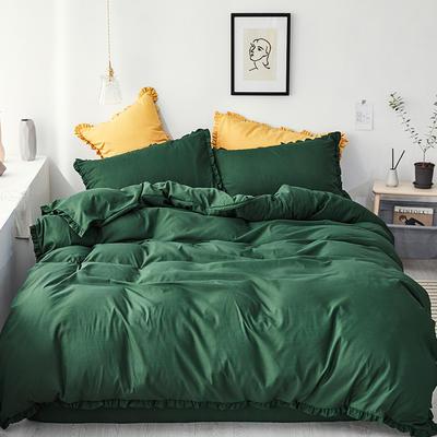 【总】oneday荷叶边磨毛活性四件套床上用品 1.2m(4英尺)床 祖母绿