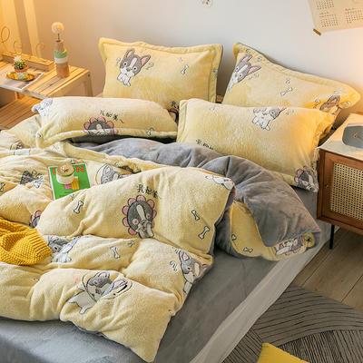 oneday雪花绒法莱绒雕花绒水晶绒四件套床上用品【小狗】 1.8m(6英尺)床 小狗