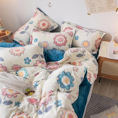 oneday雪花绒法莱绒雕花绒水晶绒四件套床上用品【太阳花】 1.8m(6英尺)床 太阳花