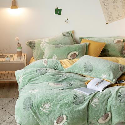 oneday雪花绒法莱绒雕花绒水晶绒四件套床上用品【牛油果】 1.8m(6英尺)床 牛油果