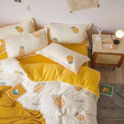 oneday雪花绒法莱绒雕花绒水晶绒四件套床上用品【菠萝】 1.8m(6英尺)床 菠萝