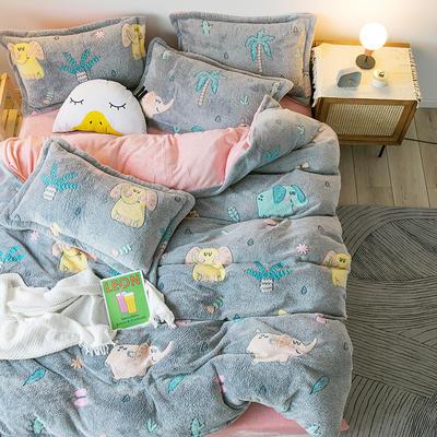 【总】oneday雪花绒法莱绒雕花绒水晶绒四件套床上用品 1.8m(6英尺)床 小象