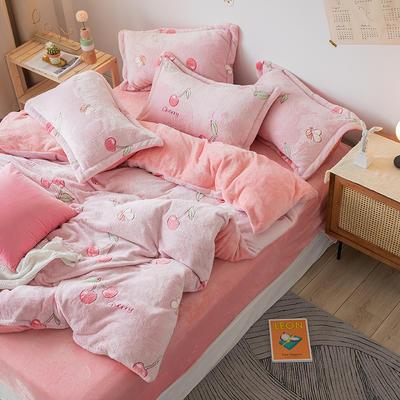【总】oneday雪花绒法莱绒雕花绒水晶绒四件套床上用品 1.8m(6英尺)床 樱桃