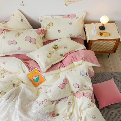 【总】oneday雪花绒法莱绒雕花绒水晶绒四件套床上用品 1.5m(5英尺)床 蝴蝶
