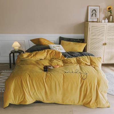 【总】oneday水晶绒镶边四件套魔法绒床上用品 1.2m(4英尺)床 姜黄+烟灰
