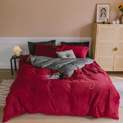 【总】oneday水晶绒镶边四件套魔法绒床上用品 1.8m(6英尺)床 酒红+浅灰