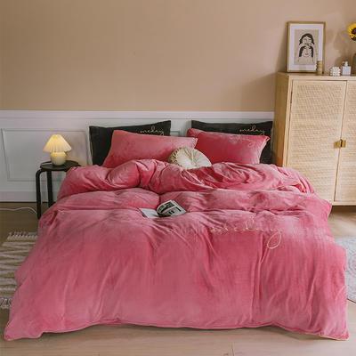 【总】oneday水晶绒镶边四件套魔法绒床上用品 1.8m(6英尺)床 胭脂