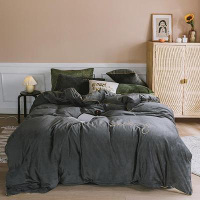 【总】oneday水晶绒镶边四件套宝宝绒刺绣床上用品 1.2m(4英尺)床 烟灰