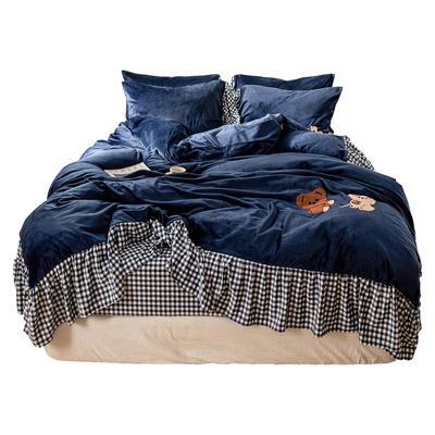 【总】oneday纯色水晶绒毛巾绣四件套 1.5m(5英尺)床 团团熊-靛蓝