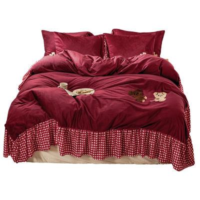 【总】oneday纯色水晶绒毛巾绣四件套 1.5m(5英尺)床 团团熊-酒红
