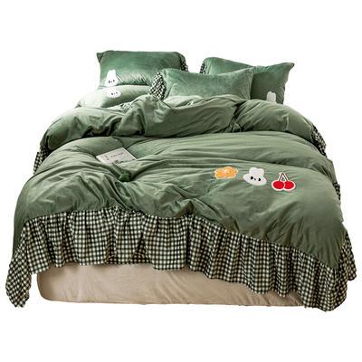 【总】oneday纯色水晶绒毛巾绣四件套 1.5m(5英尺)床 小美好-黛绿