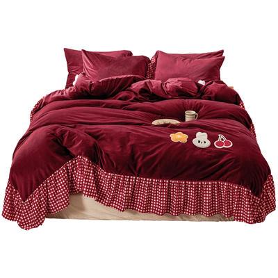 【总】oneday纯色水晶绒毛巾绣四件套 1.5m(5英尺)床 小美好-酒红