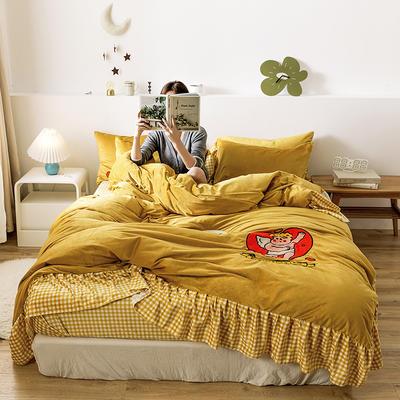 oneday水晶绒毛巾绣四件套刺绣 1.5m(5英尺)床 丘比特-姜黄