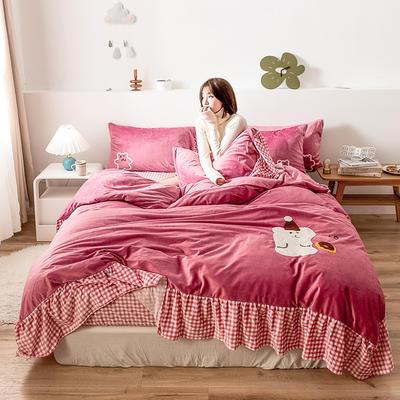 oneday水晶绒毛巾绣四件套刺绣 1.5m(5英尺)床 甜甜圈-豆沙