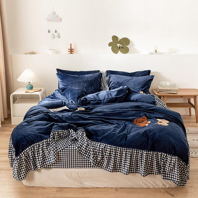oneday水晶绒毛巾绣四件套刺绣 1.5m(5英尺)床 团团熊-靛蓝