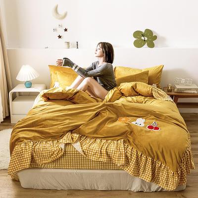 oneday水晶绒毛巾绣四件套刺绣 1.5m(5英尺)床 小美好-姜黄