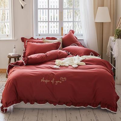 2020新款磨毛蕾丝绣花四件套 1.2m床单款四件套 形状酒红