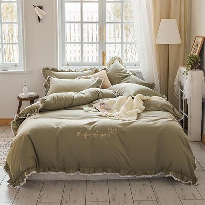 2020新款磨毛蕾丝绣花四件套 1.5m床单款四件套 形状绿色