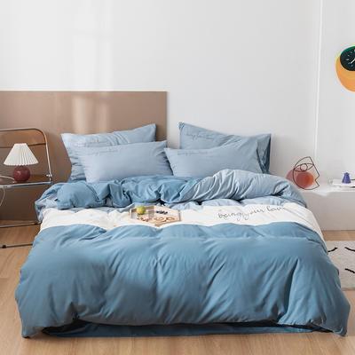 2020新款磨毛拼色刺绣四件套 1.2m床单款四件套 浅蓝