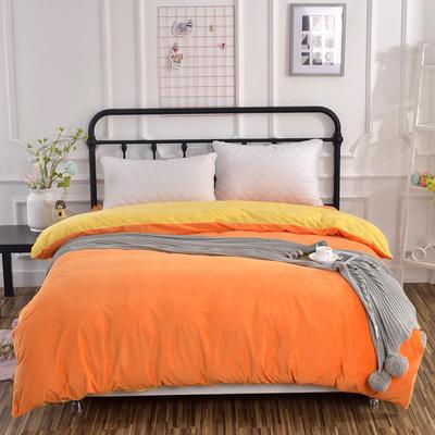 纯色水晶绒被套单件 可定做任意尺寸 180*220 橙+黄