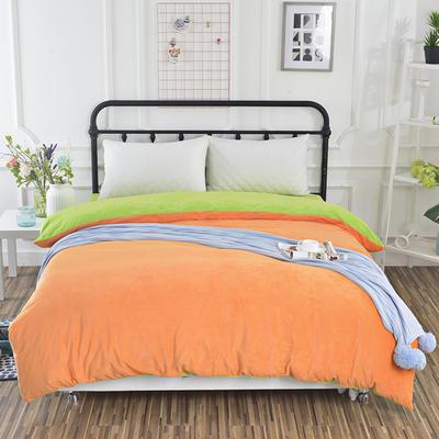 纯色水晶绒被套单件 可定做任意尺寸 180*220 果绿+橙
