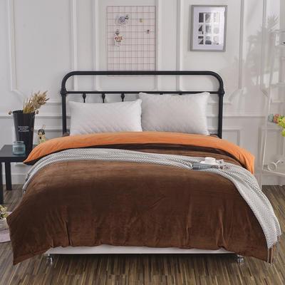 纯色水晶绒被套单件 可定做任意尺寸 180*220 咖+橙