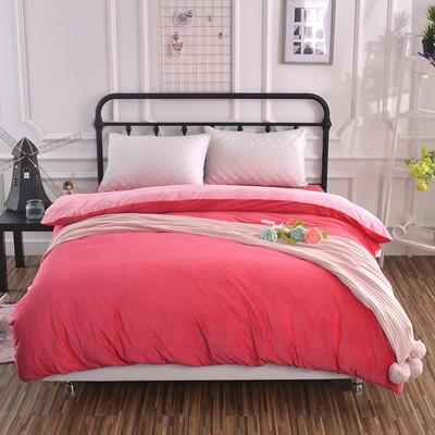 纯色水晶绒被套单件 可定做任意尺寸 180*220 砖红+粉