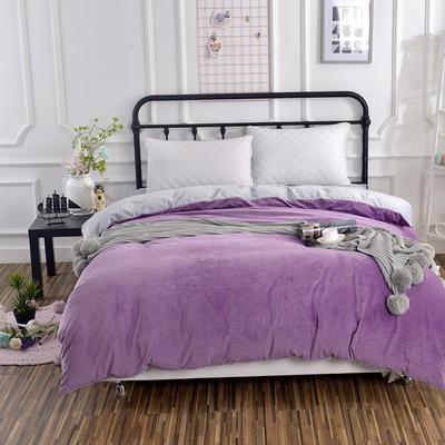 纯色水晶绒被套单件 可定做任意尺寸 180*220 紫+灰