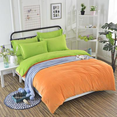 纯色水晶绒四件套 标准(1.5m床) 果绿+橙