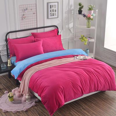 纯色水晶绒四件套 小号(1.35m床及以下) 玫红+蓝