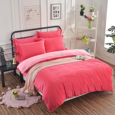 纯色水晶绒四件套 小号(1.35m床及以下) 砖红+粉