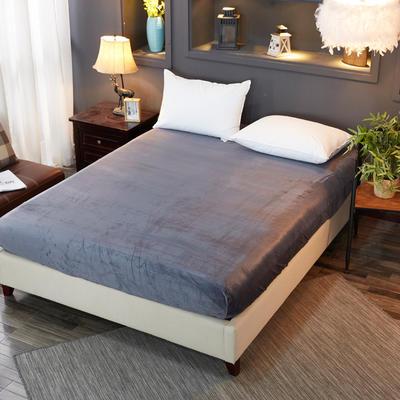 2018新款水晶绒纯色保暖床单 180*230cm 黑灰