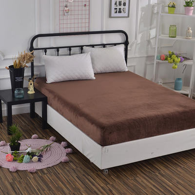 2018新款水晶绒纯色保暖床单 180*230cm 咖色