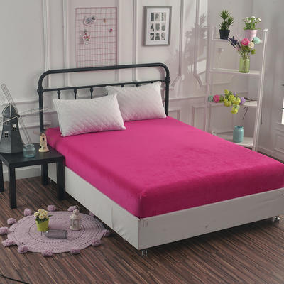 2018新款水晶绒纯色保暖床单 180*230cm 玫红