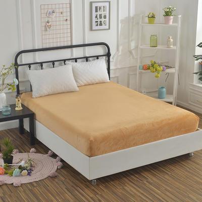 2018新款水晶绒纯色保暖床单 180*230cm 驼色