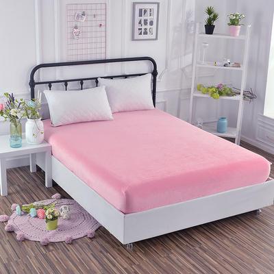 2018新款水晶绒纯色保暖床笠 0.9*2.0米*高25CM 粉色