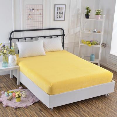 2018新款水晶绒纯色保暖床笠 0.9*2.0米*高25CM 黄色
