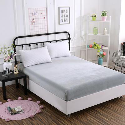 2018新款水晶绒纯色保暖床笠 0.9*2.0米*高25CM 银灰