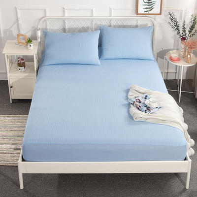电商爆款国家专利纯棉防水床笠 床护垫 婴儿隔尿垫姨妈垫可定做床笠 200cmx220cm 条纹蓝