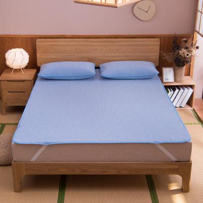 2021新款国家专利恒温冰丝凉席可水洗云母凉感空调席三件套床笠款床单款可定做尺寸软席 1.2*2米 条纹蓝床单款