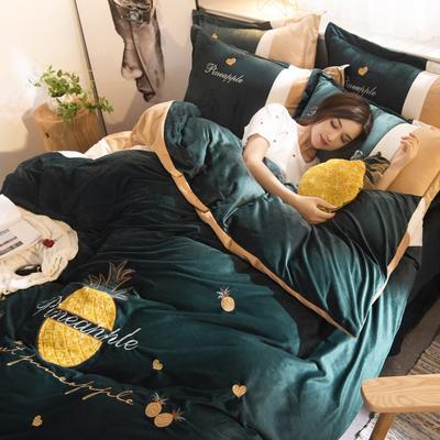 2019年秋冬保暖水晶绒菠萝绣花四件套 1.5m(5英尺)床 菠萝绣花-墨绿