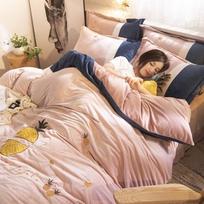 2019年秋冬保暖水晶绒菠萝绣花四件套 1.5m(5英尺)床 菠萝绣花-浅玉