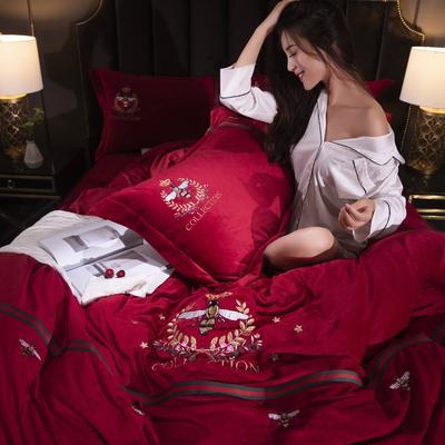 2019秋冬保暖水晶绒蜜蜂绣花款四件套 1.5m(5英尺)床 蜜蜂绣花-大红