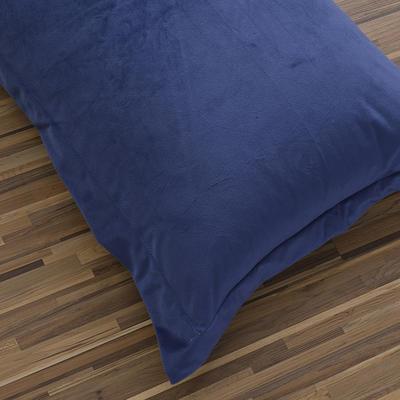 32019新款水晶绒纯色单枕套(48x74cm) 48cmX74cm 藏青+灰(一只)